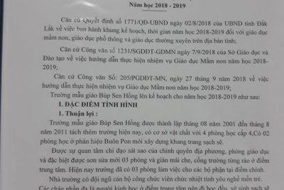 Kế hoạch, nhiêm vụ năm học 2018 – 2019